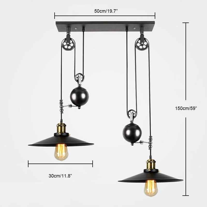 Industrial Style 2 Light Pendant Adjustable Pulley Ceiling
