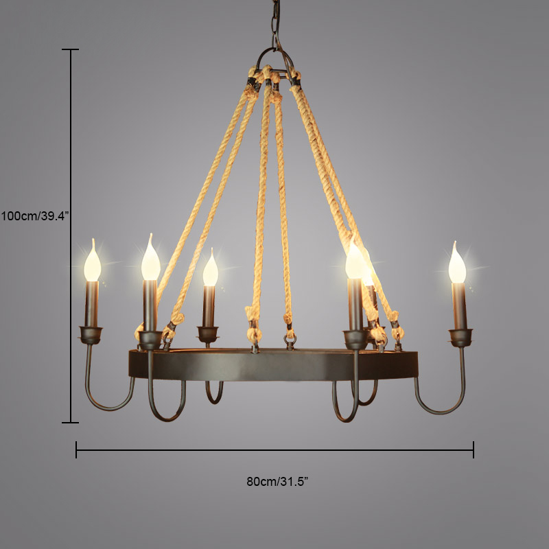 Traditional style industrial 6 light large 1 tier candle chandelier fixture height 3937in 100cm canopy width 475in 12cm bulb information bulb type ledcflincandescent bulb base e12e14 aloadofball Image collections