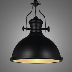 Industrial Style Black Finished 1 Light Pendant with Frosted Glass