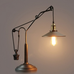 Vintage Industrial Style 1 Light Pulley Adjustable Table Lamp