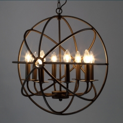 Vintage Cage Style 8 Light Foyer Cage Pendant Chandelier in Black