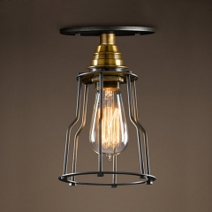 Brass Finish Semi Flush Ceiling Light with Wire Guard