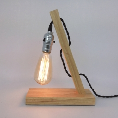 Natural Wood Night Light Small Table Lamp in Industrial Style