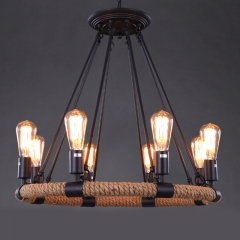 8 Light 1 Tier Rope Chandelier
