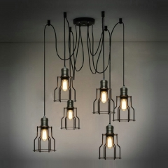 6 Light Industial Caged Pendant Light