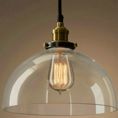 "9.84""W Dome Shaped 1 Light Pendant with Clear Glass Shade"