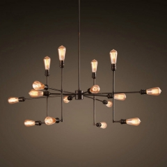 16 Light Large Sputnik Chandelier in Black Finish
