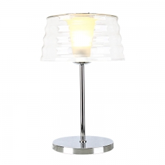 Modern Style Chrome Finish 1 Light Table Lamp with Outer Glass Shade