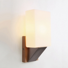 Chic and Modern 1 Light Mini Wall Sconce with Wood Base