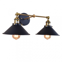 Industrial Style Double Wall Light in Black Finish