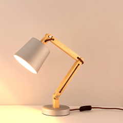Nordic Stylish 1 Light Desk Lamp Plug-in Bedside Lamp with Wooden Adjustable Arm and Cone Shade
