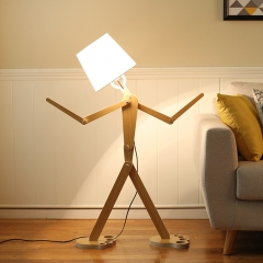 Puppet Shaped 1 Light Floor Lamp with Fabric Empire Shade in Nordic Style