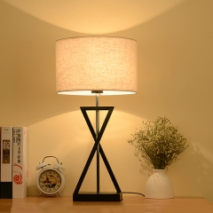 22.83''H Drum Linen Shade 1 Light Table Lamp with Black Holder in Nordic Style