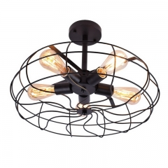 Industrial Style Close to Ceiling Light in Cage Fan Shape with Five Light