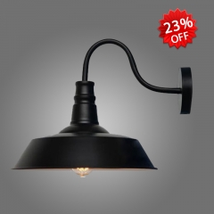 Industrial Style Single Light Barn Wall Light in Black 10 1/4'' Wide