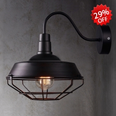 Cage Style Small Wall Lamp in Black Finish 10 1/4'' Wide