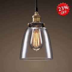Bell Shaped Clear Glass Mini Single Pendant Light