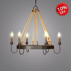 Wrought Iron Style 6 Light Candle Chandelier in Black
