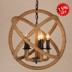 Industrial Style 5 Light Candle Globe Chandelier