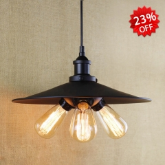 3 Light Industrial Hanging Pendant in Black 14 1/4'' Wide
