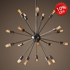 20 Light Large Sputnik Chandelier in Black 23 3/4'' Wide