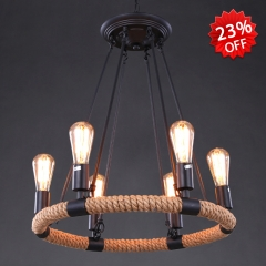 6 Light 1 Tier Rope Chandelier
