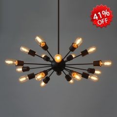 18 Lt Industrial Style Sputnik Pendant Chandelier in Black