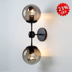 Contemporary Style 2 Light Wall Sconce in Black with Globe Glass Shade