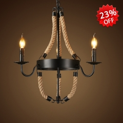 Industrial Style 3 Light Rope Chandelier