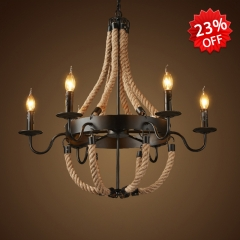 Candle Style 6 Light 1 Tier Rope Chandelier