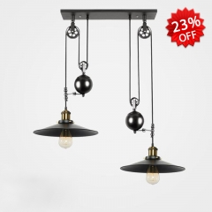 Industrial 2 Light Multi Light Pendant Lamp in Black