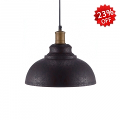 Rust Finished Single Light Pendant with Dome Shade