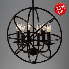 Six Light Industrai Style Foyer Chandelier with Globe Cage Shade