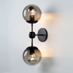 Contemporary Style Modo 2 Globes Wall Light in Black