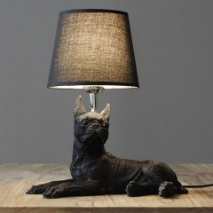 "Boston Terrier Shaped 1 Light 13""W Table Lamp with Fabric Shade in Black"