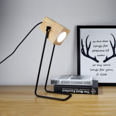 Modern 1 Light Plug-in Mini Desk Lamp with Wooden Shade