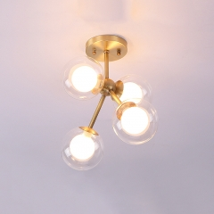 Contemporary Style 4 Light Bubble Semi Flush Mount in Brass