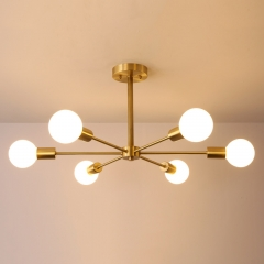 Mid Century Modern Branching 6 Light Semi Flush Mount Dimmable in Brass Bedroom Dinning Room