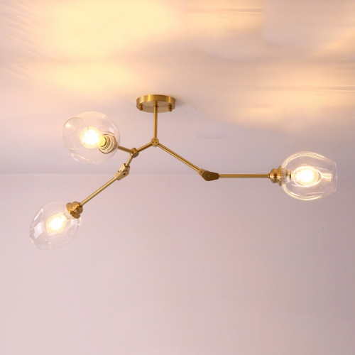 3 Light Organic Branching Modern Ceiling Light Semi-Flush Mount in Brass