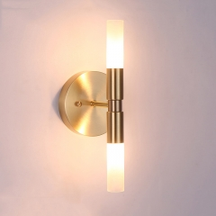 Modern Style 2 Light Brass Wall Lamp with Cylindrical Glass Shade for Bedside Vanity Mirror Lighting