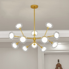 12 Light 33'' Wide Large Modern Sputnik Chandelier with Hand-blown Glass Shade in Brass