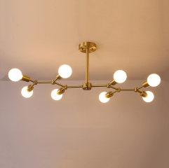 Contemporary Style Branching 8 Light Close to Ceiling Light in Brass