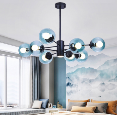 Modo 8 Light Branching Bubble Designer Modern Chandelier with Bule Glass Shade