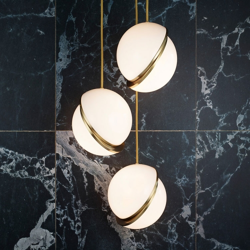 Modern Chic 1 Light Opal Globe Pendant Light in Brushed Brass for Showroom Coffee Shop Bedside