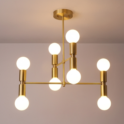 8 Light Iron Metal Modern Style Semi Flush Ceiling Light, Brass