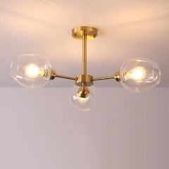 Modern Style 3 Light Semi-Flush Mount Ceiling Lamp in Brass with Hand Blown Glass Shade
