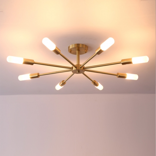 Dimmable 8 Light Frosted Glass Industrial Sputnik Semi Flush Mount Ceiling Lamp in Brass-Bulb Included