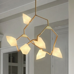 Modern Style 6-Light Seed 02 Chandelier in Brushed Brass/White-Dimmable Bulb Included