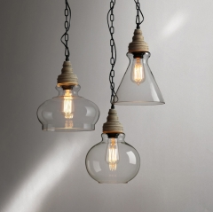 Industrial Modern 3-Light Glass Pendant Light for Bar and Kitchen