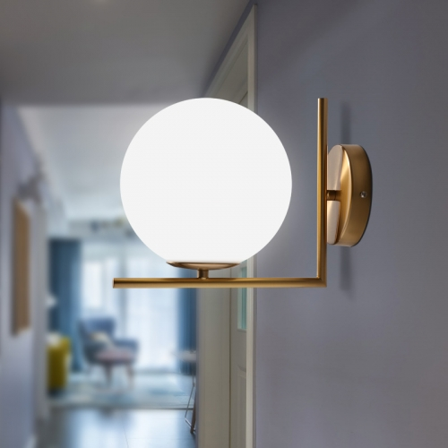 Modern Brass Wall Light with Blown Glass Opal Diffuser